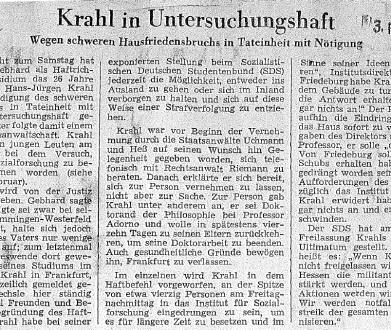 31.01.1969: Besetzung Institut für Sozialforschung