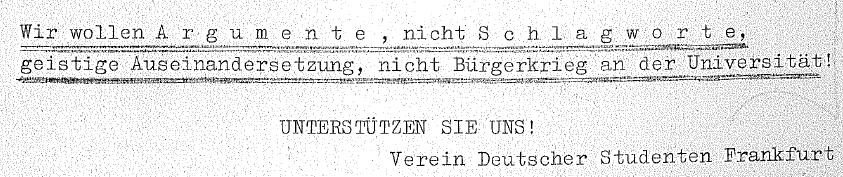 Terror - Flugblatt Verein Deutscher Studenten SDS