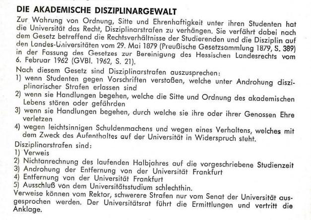 Universitätsrat Studentenbewegung Disziplinarrecht