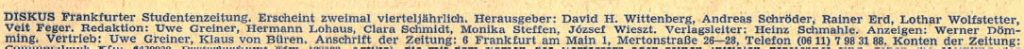 Diskus Herausgeber 1969