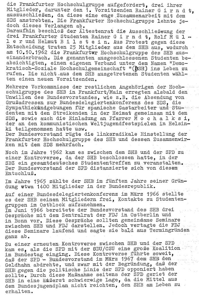 SHB Studentenbewegung SPD