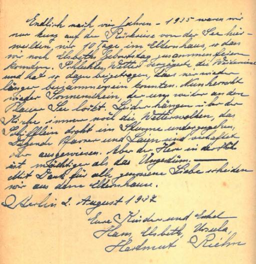 Gästebuch des Missionars Friedrich Heinrichs, Grosßvater von Hartmut Riehn