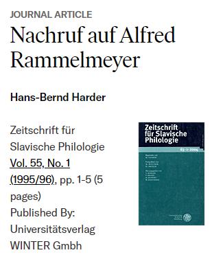 Rammelmeyer Nachruf